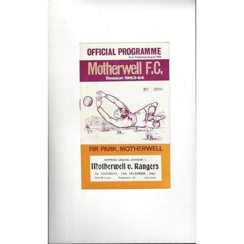 1963/64 Motherwell v Rangers Football Programme