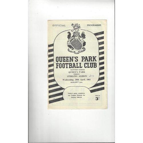 1963/64 Queens Park v Stirling Albion Football Programme