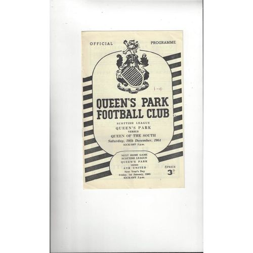 1964/65 Queens Park v Queen of the South Football Programme