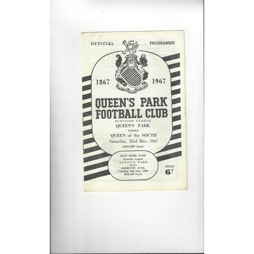 1967/68 Queens Park v Queen of the South Football Programme