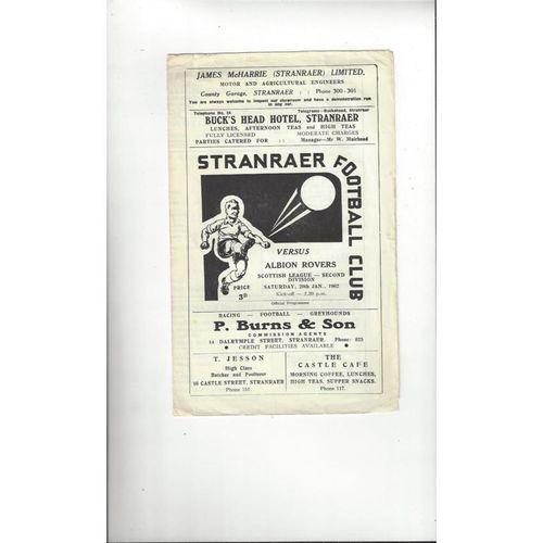 1961/62 Stranraer v Albion Rovers Football Programme