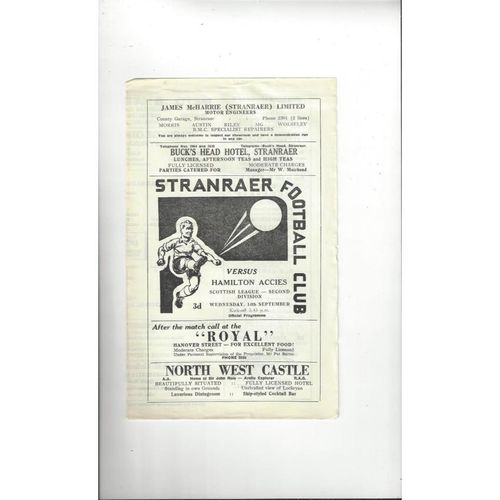 1966/67 Stranraer v Hamilton Football Programme