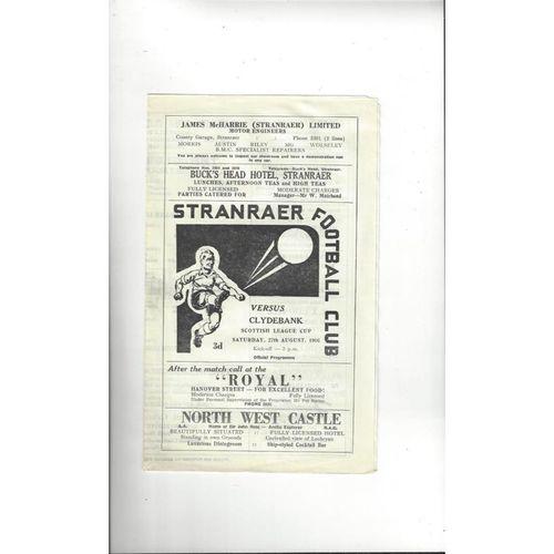 1966/67 Stranraer v Clydebank League Cup Football Programme