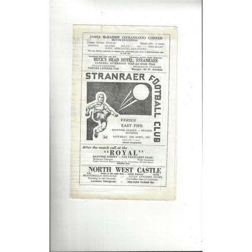 1966/67 Stranraer v East Fife Football Programme 1966/67