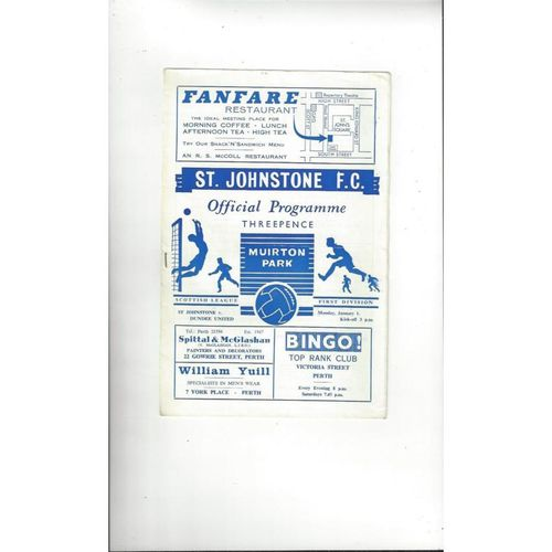 1967/68 St Johnstone v Dundee United Football Programme