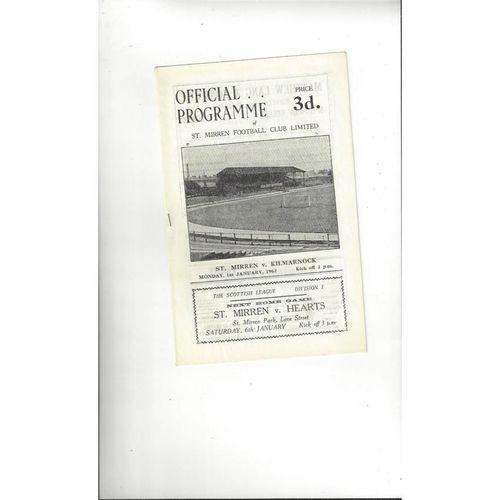 1961/62 St Mirren v Kilmarnock Football Programme
