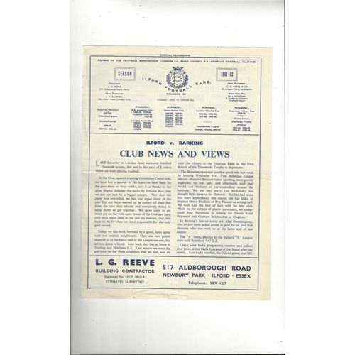 1961/62 Ilford v Barking Football Programme