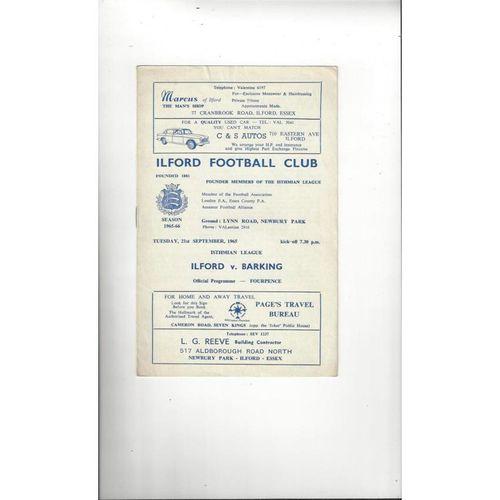 1965/66 Ilford v Barking Football Programme