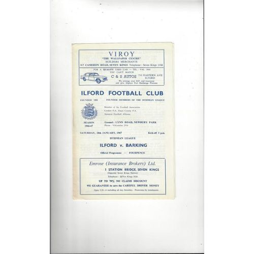 1966/67 Ilford v Barking Football Programme