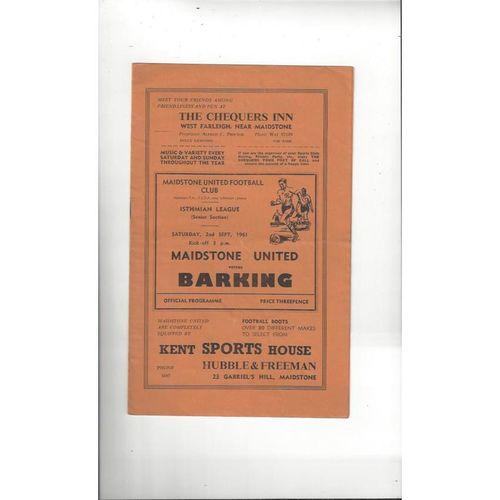 1961/62 Maidstone United v Barking Football Programme