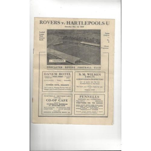 1949/50 Doncaster Rovers v Hartlepool United Football Programme