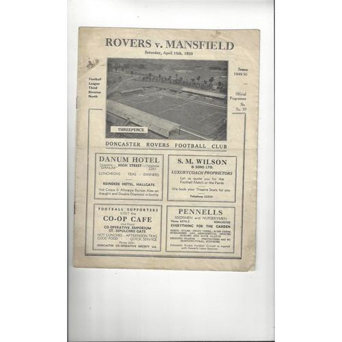 1949/50 Doncaster Rovers v Mansfield Town Football Programme