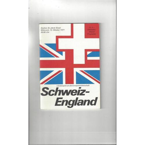 1971 Switzerland v England Football Programme