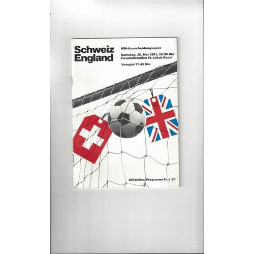 1981 Switzerland v England Football Programme