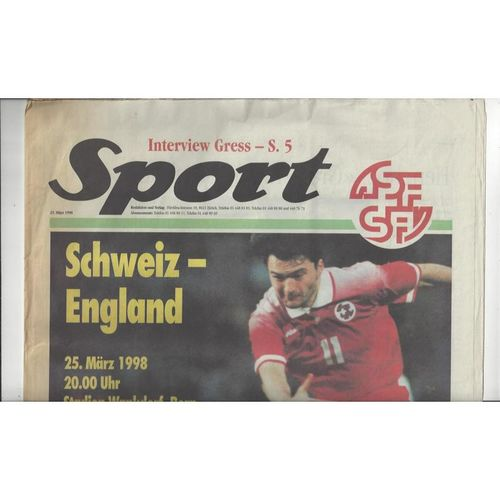 1998 Switzerland v England Football Programme Newspaper Edition