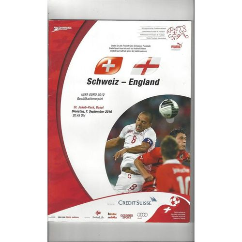 2010 Switzerland v England Football Programme