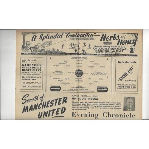 1947/48 Manchester United v Wolves Football Programme
