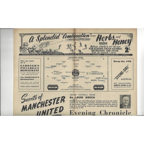 1947/48 Manchester United v Manchester City Football Programme