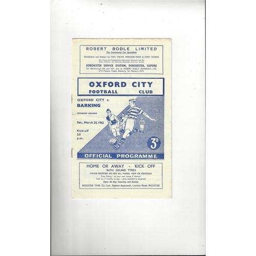 1961/62 Oxford City v Barking Football Programme