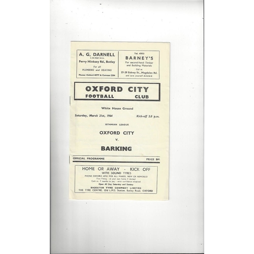 1963/64 Oxford City v Barking Football Programme
