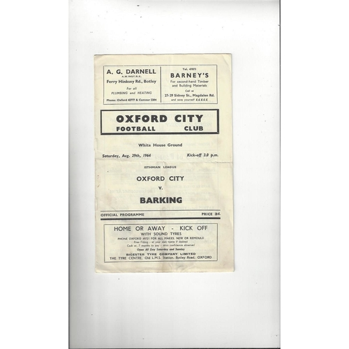 1964/65 Oxford City v Barking Football Programme
