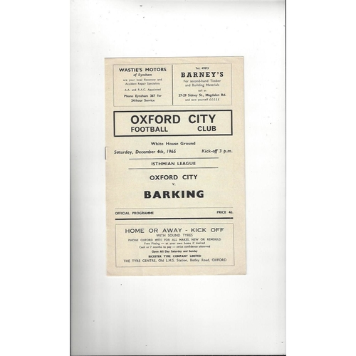 1965/66 Oxford City v Barking Football Programme