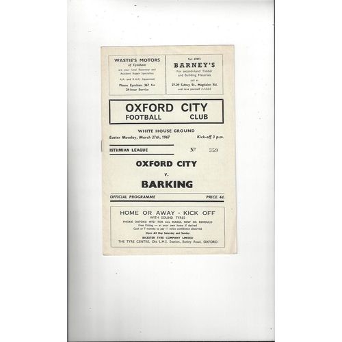 1966/67 Oxford City v Barking Football Programme