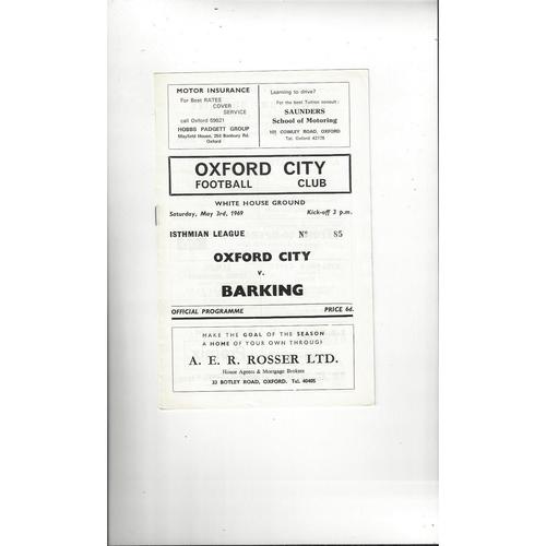 1968/69 Oxford City v Barking Football Programme