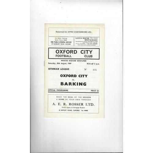 1969/70 Oxford City v Barking Football Programme