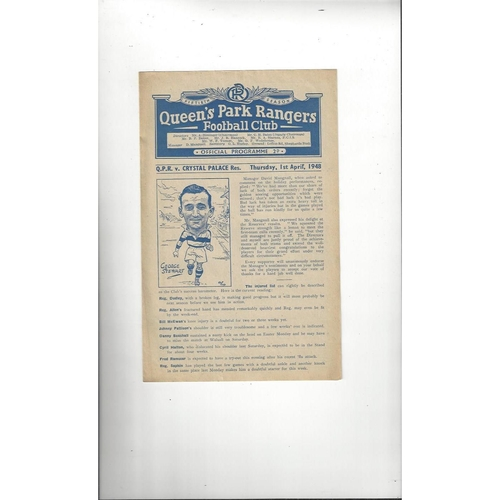 1947/48 Queens Park Rangers v Crystal Palace Football Combination Cup Programme