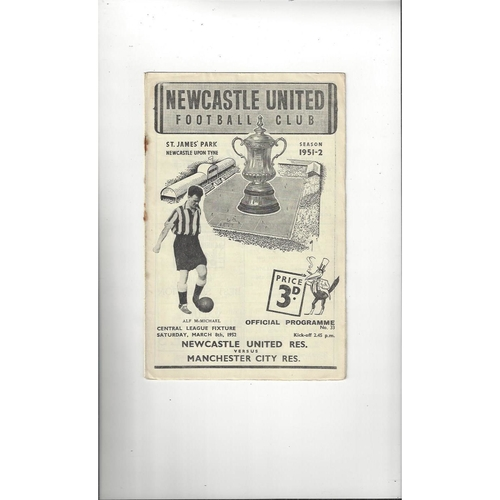 1951/52 Newcastle United v Manchester City Central League Football Programme