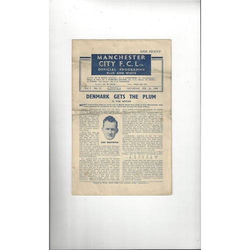 1948/49 Manchester City v Chesterfield Central League Football Programme