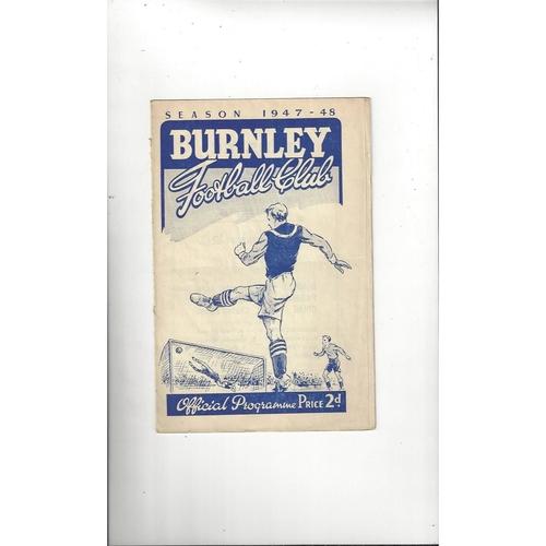 1947/48 Burnley v Manchester City Football Programme
