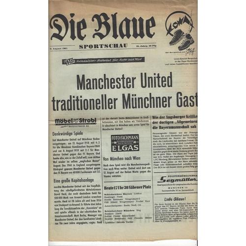 Bayern Munich v Manchester United Friendly Newspaper Football Programme 1961/62