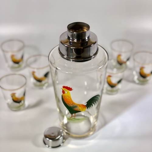 Handpainted French Cockerel cocktail shaker set