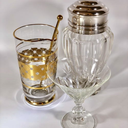Outstanding silver and heavy crystal cocktail shaker