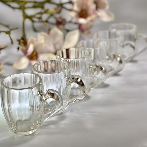 French slice cut crystal mini mugs
