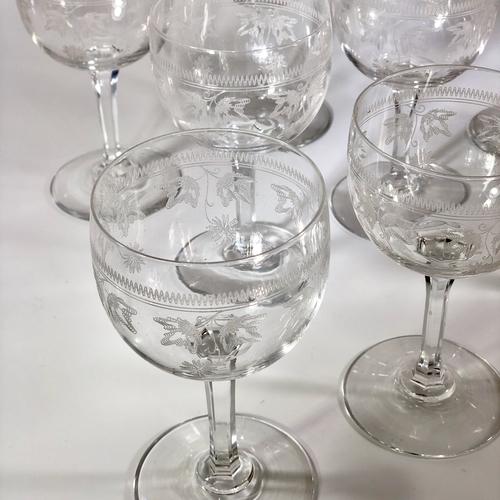 10 antique Baccarat etched crystal wine glasses