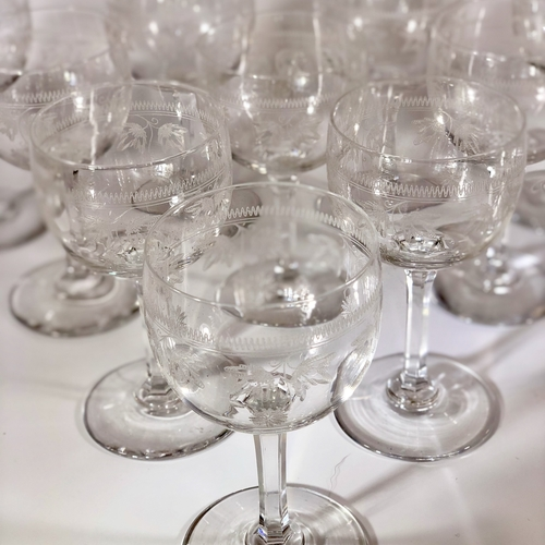 10 Baccarat etched crystal wine glasses