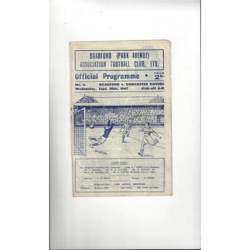 1947/48 Bradford Park Avenue v Doncaster Rovers Football Programme