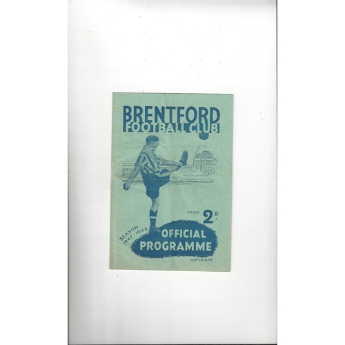 1947/48 Brentford v Doncaster Rovers Football Programme