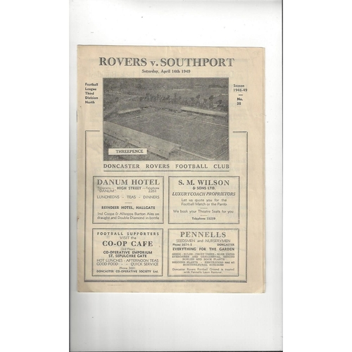 1948/49 Doncaster Rovers v Southport Football Programme