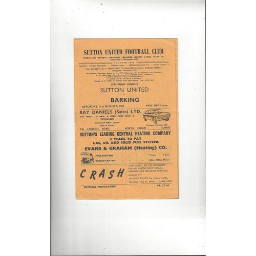 1968/69 Sutton United v Barking Football Programme