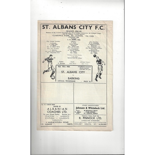 1961/62 St Albans City v Barking Football Programme