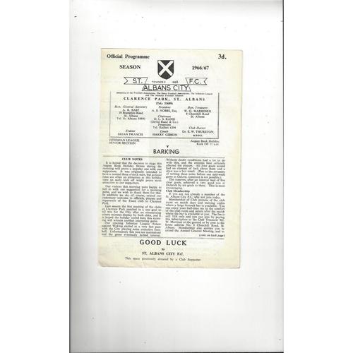1966/67 St Albans City v Barking Football Programme