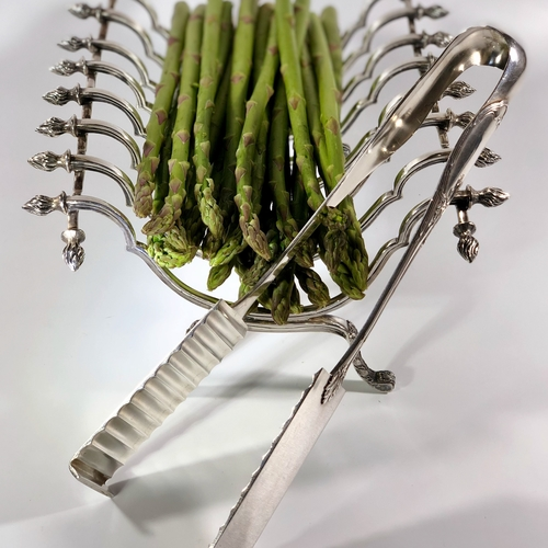 Edwardian silver plated serving tongs
