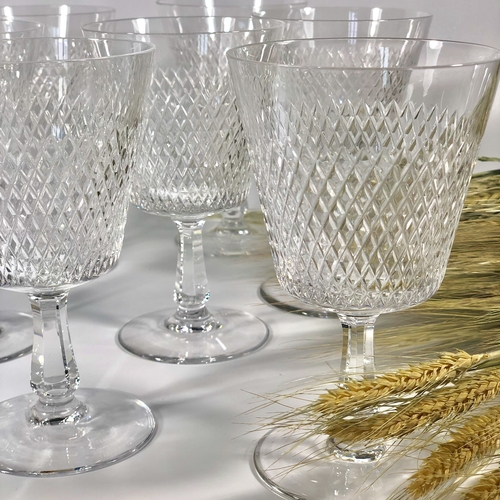 Large French fine crystal wine goblets