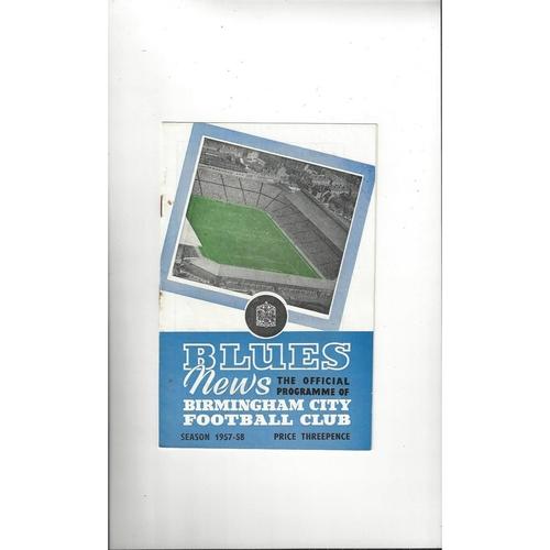 1957/58 Birmingham City v Tottenham Hotspur Football Programme