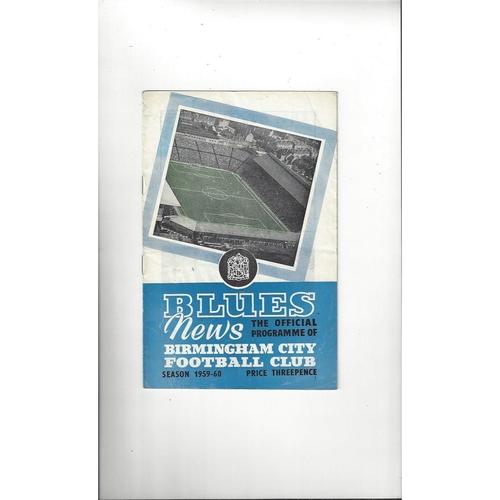 1959/60 Birmingham City v Preston Football Programme Autographed