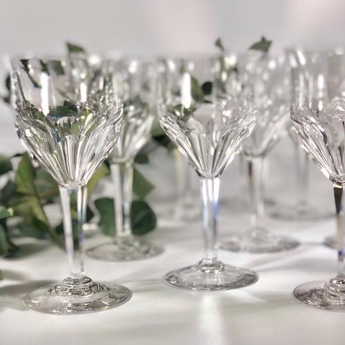 12 Val Saint Lambert Oreste crystal wine goblets